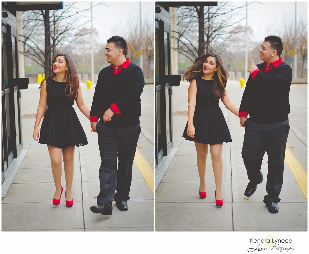 Downtown Grand Rapids Michigan wedding engagement photography, west  michigan wedding engagement photorapher, red and black engagement inspiration, little black dress enagagement photos