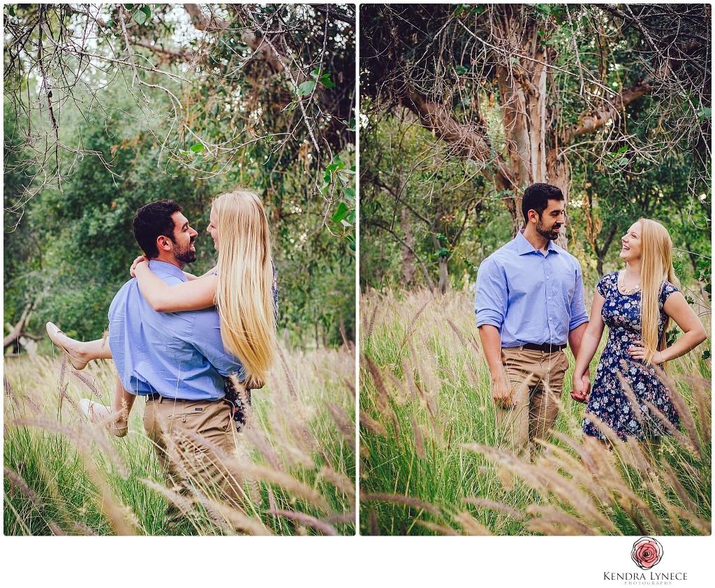 couple in grass field, Yyorba regional park Anaheim California wedding Engagement photos, park engagement photos, socal wedding engagement photography prices,