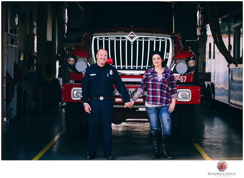 fireman engagement photos, firehouse engagement photographer, southern californa fireman,