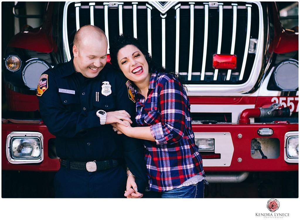 engagment photos ideas, firehouse, fire truck, fireman,