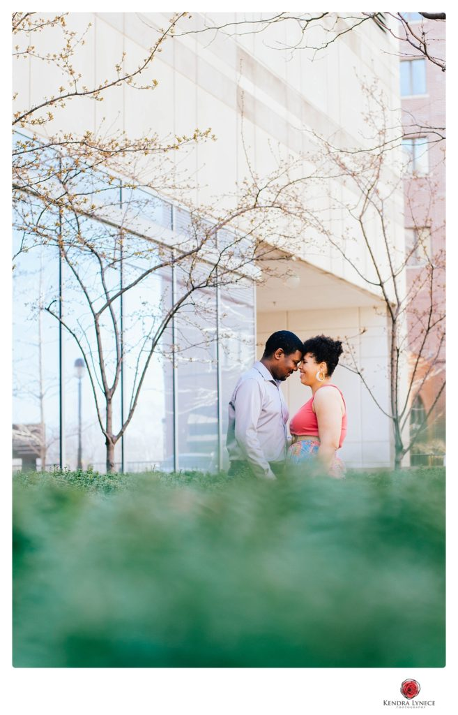 the city of downtown grand rapids Michigan wedding engagement photos locations on a rooftop destination wedding photographer kendra lynece wedding photography