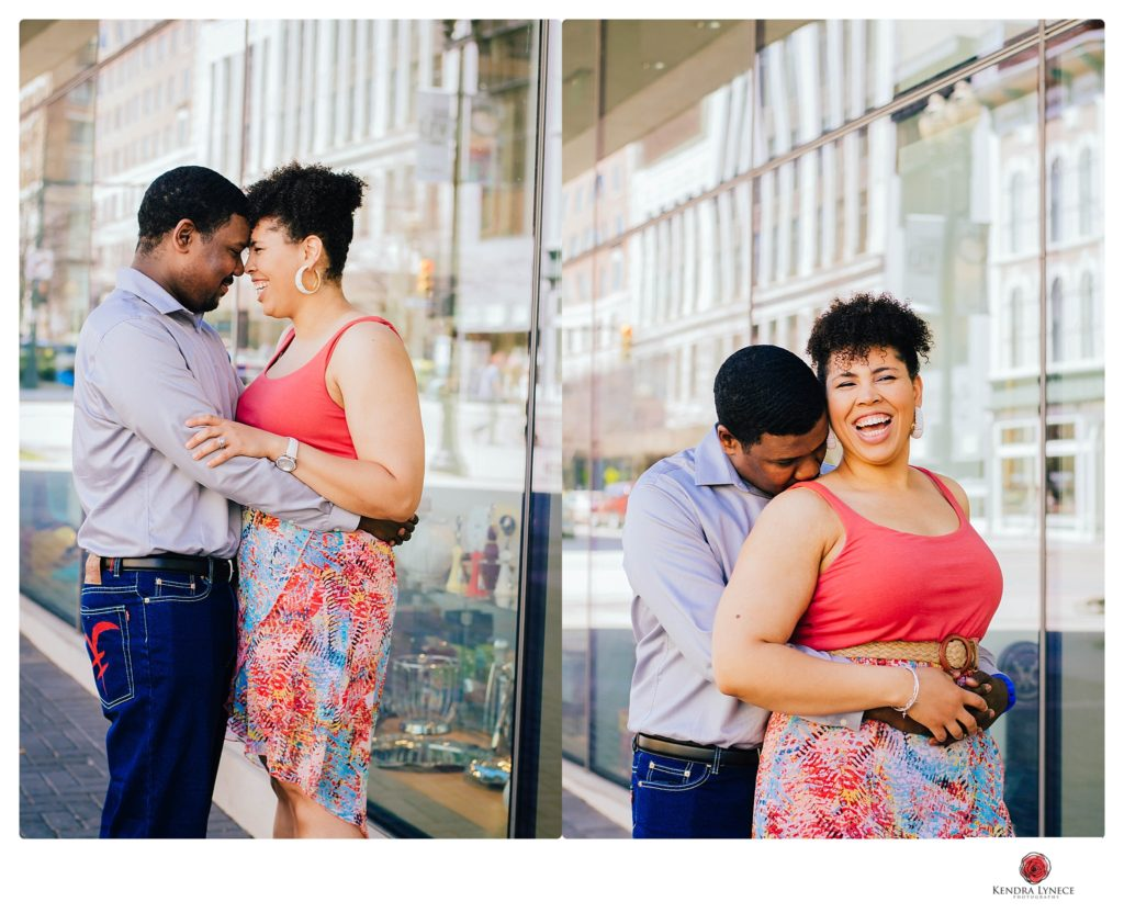 the city of downtown grand rapids Michigan wedding engagement photos locations on a rooftop destination wedding photographer kendra lynece