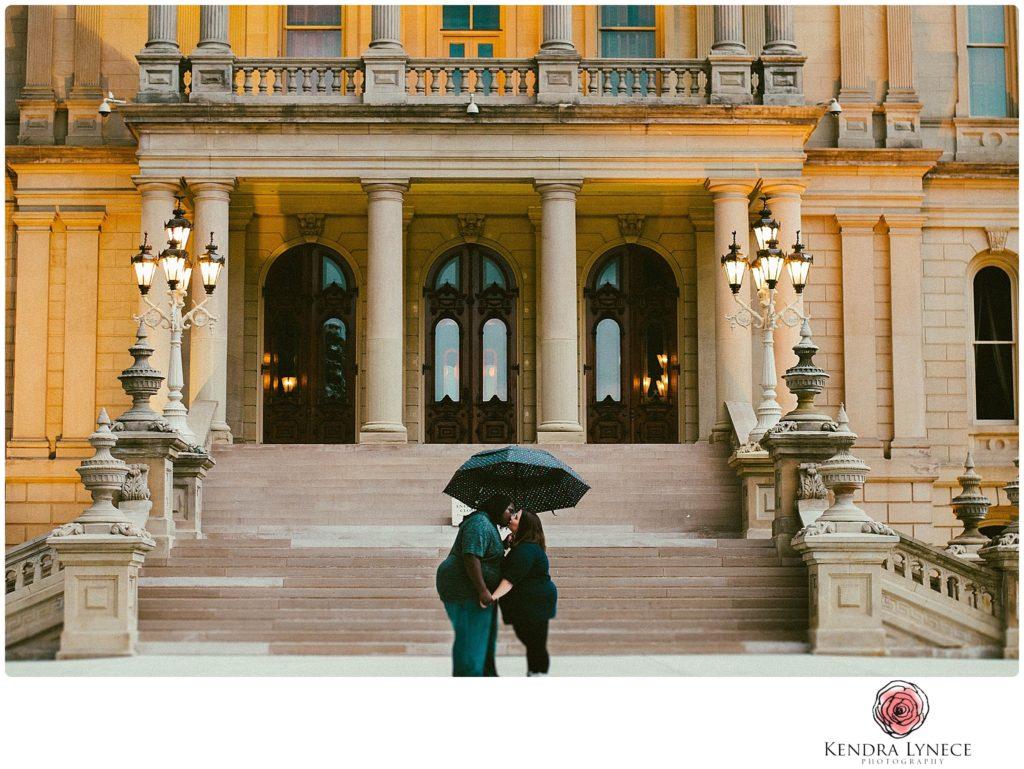 downtown lansing capital wedding engagement photos by lansing wedding photographers