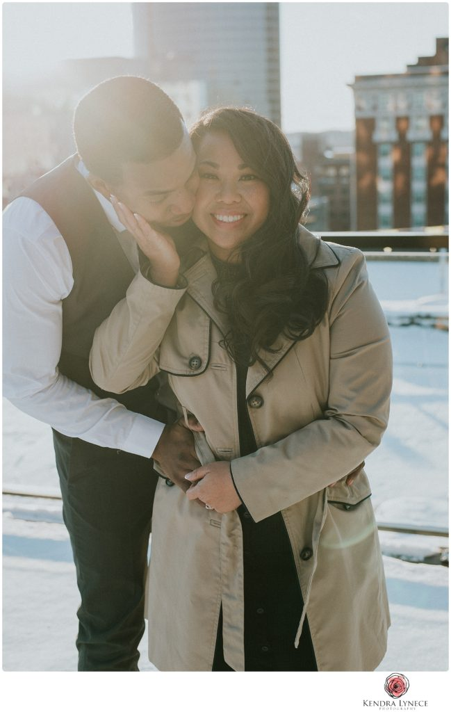 downtown Grand rapids Michigan sunset rooftop wedding engagement photos at hilton hotel