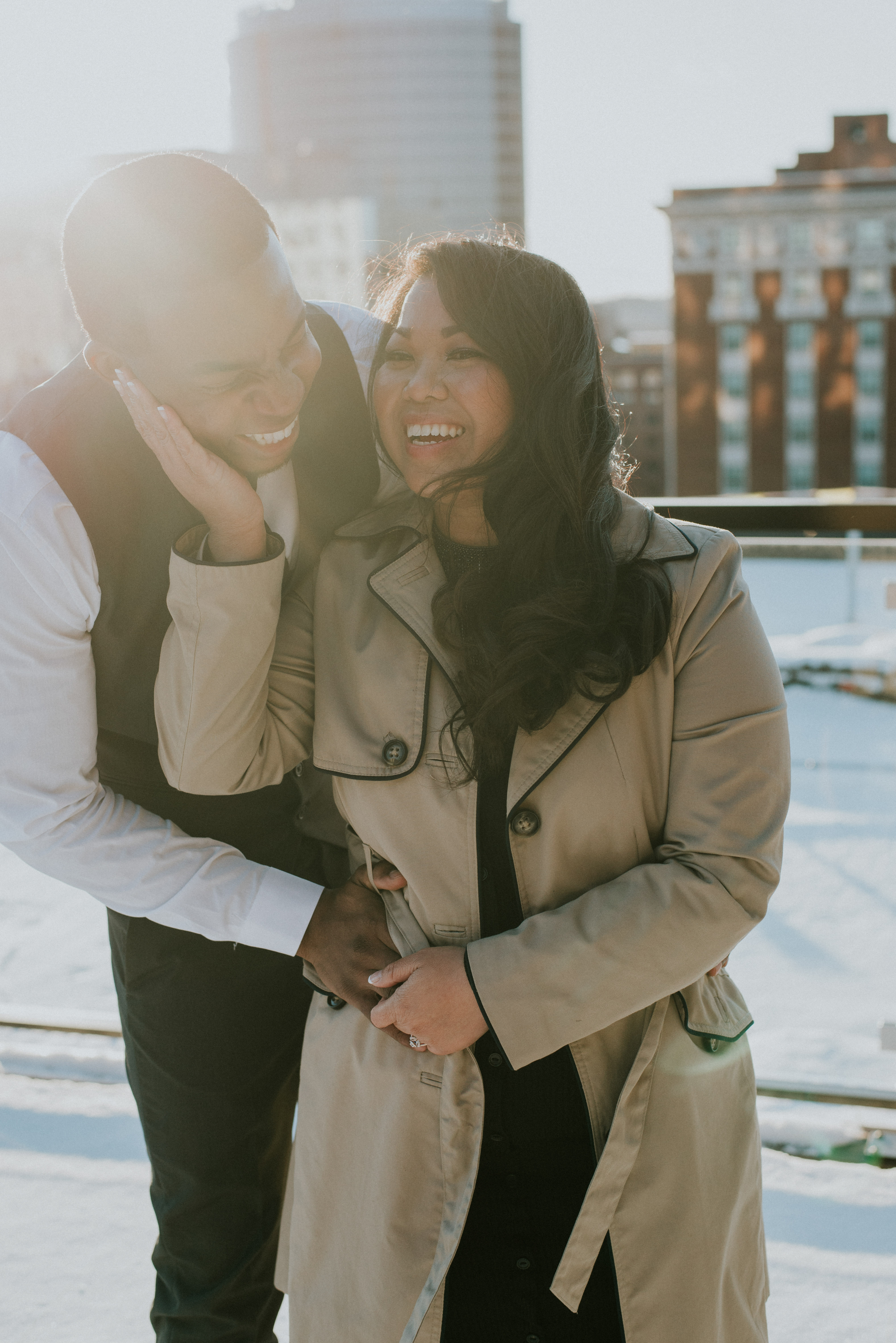 Interracial Couple Homewood Suites by Hilton Rooftop  Engagement